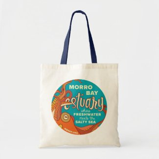 Morro Bay Estuary Octopus Tote with Navy Handles