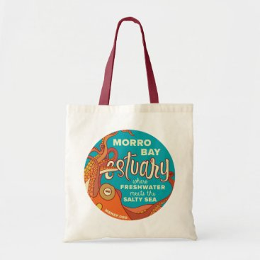 Beach Themed Morro Bay Estuary Octopus Tote with Red Handles