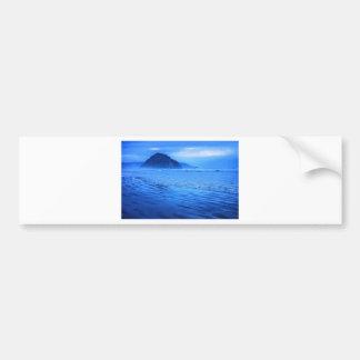 Morro Rock with seascape and sand Bumper Sticker