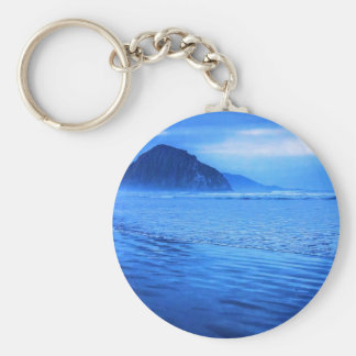 Morro Rock with seascape and sand Keychain