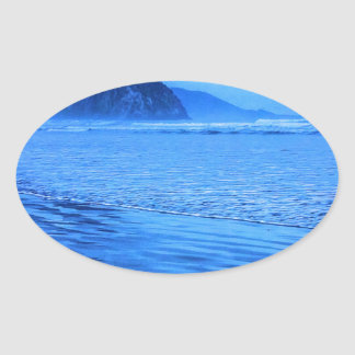 Morro Rock with seascape and sand Oval Sticker