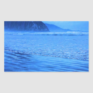 Morro Rock with seascape and sand Rectangular Sticker