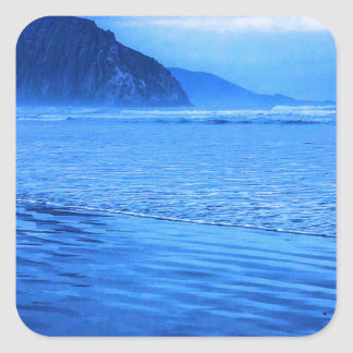 Morro Rock with seascape and sand Square Sticker