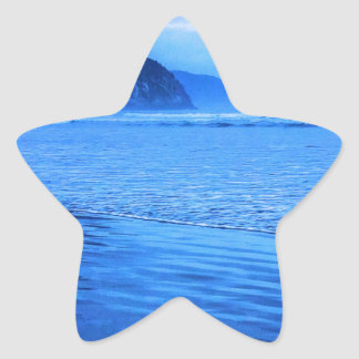 Morro Rock with seascape and sand Star Sticker