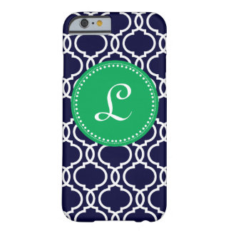 Morrocan Custom Monogram in Navy and Kelly Green Barely There iPhone 6 Case