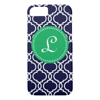 Morrocan Custom Monogram in Navy and Kelly Green iPhone 7 Case