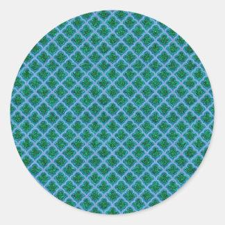 Morrocan inspiró en azul y verde pegatina redonda