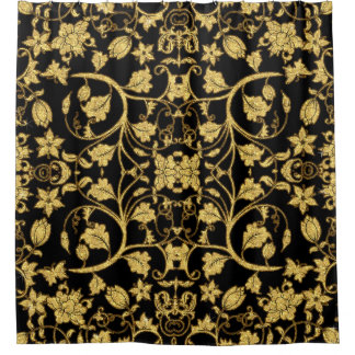 Morroccan Decor Floral Vine Black Gold Pattern Shower Curtain
