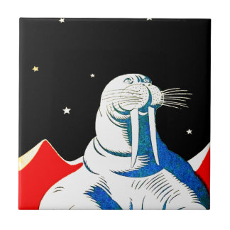 Morsa del astronauta del espacio teja cerámica