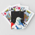 Morsa del astronauta del espacio baraja de cartas