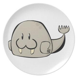 Morsa del dibujo animado plato de comida