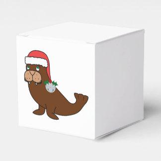 Morsa del navidad con el gorra de Santa y Bell de Caja Para Regalo De Boda