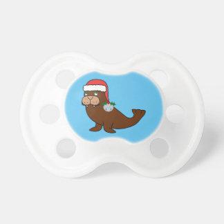 Morsa del navidad con el gorra de Santa y Bell de Chupete