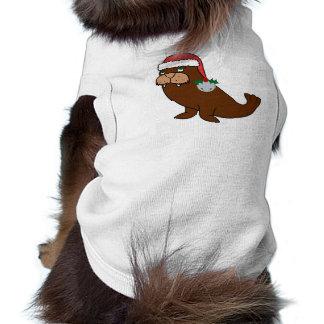 Morsa del navidad con el gorra de Santa y Bell de Playera Sin Mangas Para Perro
