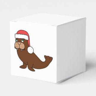 Morsa del navidad con el gorra rojo de Santa Caja Para Regalos De Fiestas
