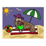 Morsa divertida en el arte de la playa tarjetas postales