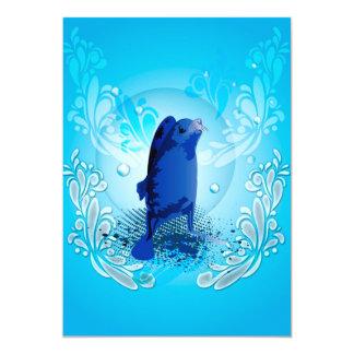 Morsa linda con los elementos decorativos del invitación 12,7 x 17,8 cm