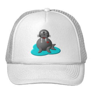 Morsa linda en agua gorras