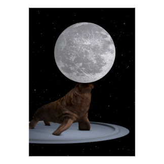 Morsa que equilibra la luna impresiones