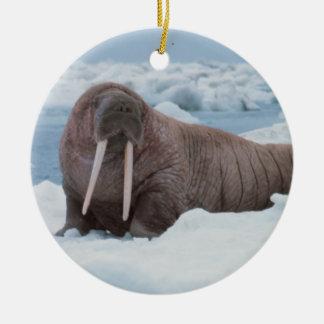 Morsa que pone alrededor adorno navideño redondo de cerámica
