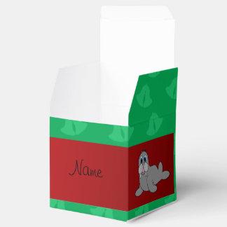 Morsa verde conocida personalizada de las campanas cajas para regalos de fiestas