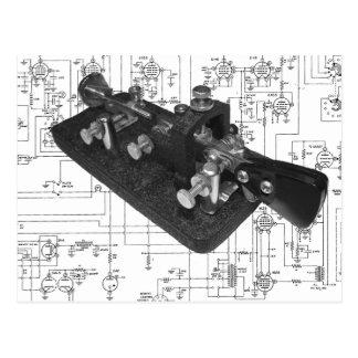 Morse Code Radio Key Schematic Postcard