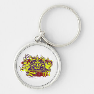 mortal sin affected design purple red yellow keychain