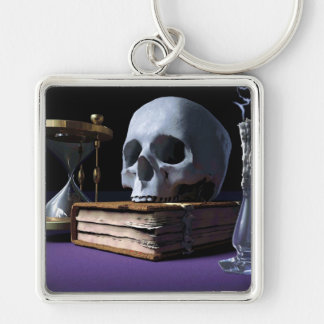 MORTALITY! (skull, tome, candle & hourglass) ~ Keychain