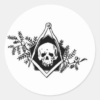 Mortality Square and Compasses Classic Round Sticker