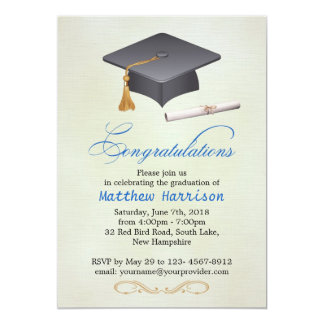 Mortar and diploma Graduation Party Celebration Announcements