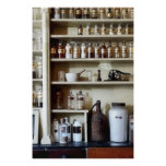 Mortar and Pestle and Bottles on Shelves Perfect Poster