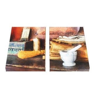 Mortar and Pestle and Box of Cocoa Canvas Print