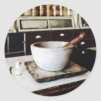 Mortar and Pestle in Apothecary Classic Round Sticker