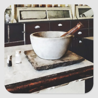 Mortar and Pestle in Apothecary Square Sticker