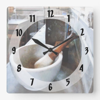 Mortar and Pestle in Lab Square Wall Clock
