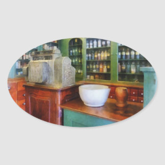 Mortar and Pestle in Pharmacy Oval Sticker