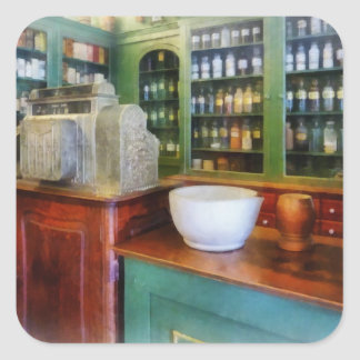 Mortar and Pestle in Pharmacy Square Sticker