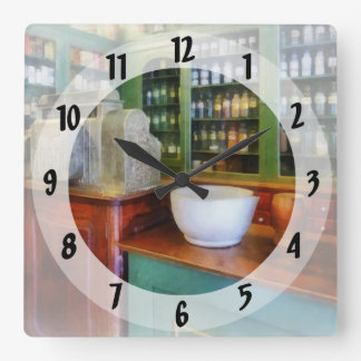 Mortar and Pestle in Pharmacy Square Wall Clocks