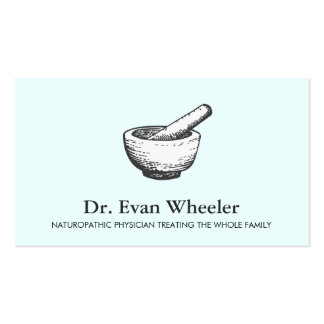 Mortar and Pestle Logo Naturopathic Doctor Blue Business Card
