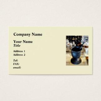 Mortar and Pestle Near Medicine Bottles Business Card