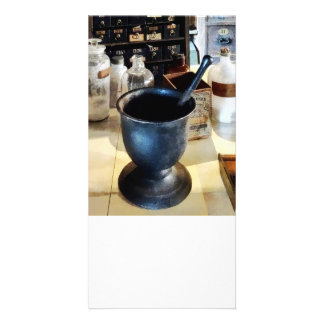 Mortar and Pestle Near Medicine Bottles Personalized Photo Card