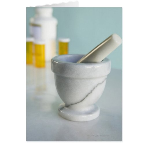 Mortar and Pestle, Pill Bottles in Background Card