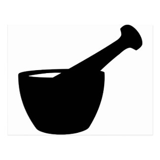 Mortar And Pestle Silhouette Postcard