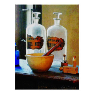 Mortar and Pestle With Bottles Posters