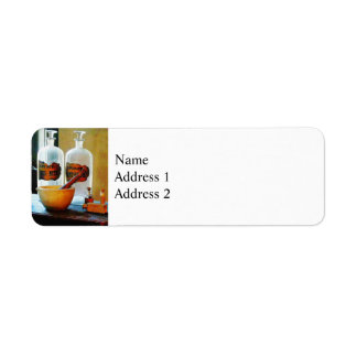 Mortar and Pestle With Bottles Return Address Label