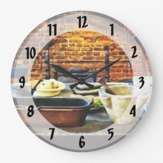 Mortar and Pestles in Colonial Kitchen Large Clock