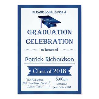 Mortar, blue & white Graduation Party Invitation