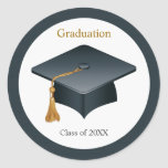 Mortar cap Graduation Seal Round Stickers