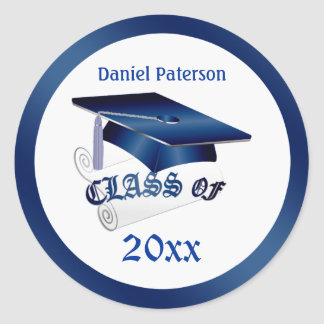 Mortar, diploma Class of Graduation Seal Classic Round Sticker