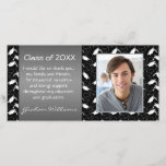 """Mortar graduation thank you<br><div class=""""desc"""">Black and white mortar pattern graduation announcement/thank you photo card. Easy to customize - just insert a photo of the graduate. You can change text,  font and color as well as your graduation information.</div>"""